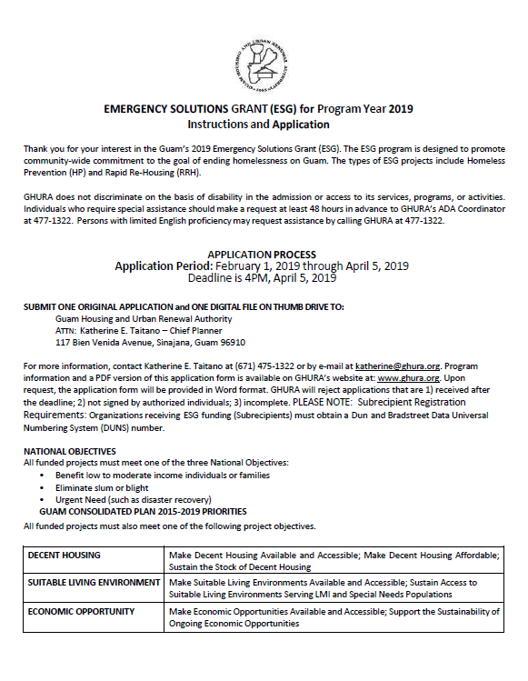 EMERGENCY SOLUTIONS GRANT (ESG) for Program Year 2019 Instructions